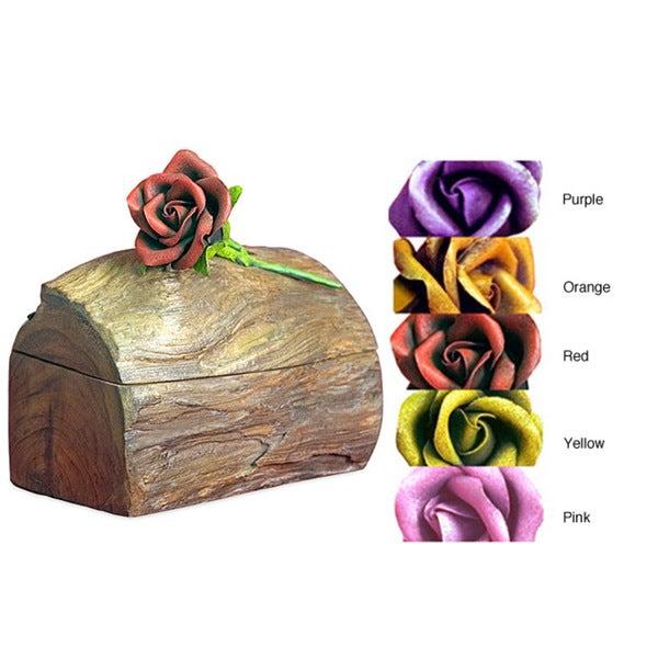 Teak Wood Jewelry Box with Mounted Rose. Opens flyout.