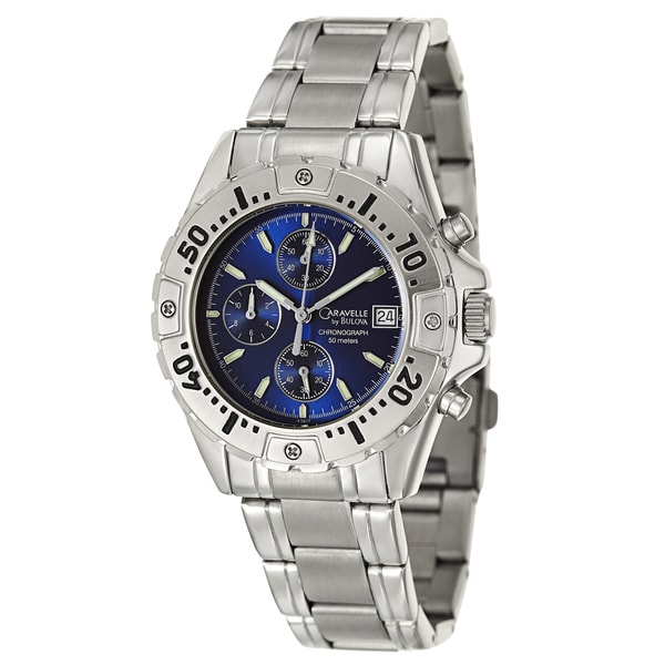 478e20393 Shop Caravelle by Bulova Men's 'Sport' Stainless Steel Chronograph Watch -  Free Shipping Today - Overstock - 8821967