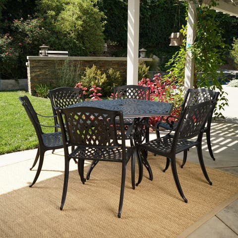 Cayman Outdoor 6 Seater Cast Aluminum Dining Set by Christopher Knight Home