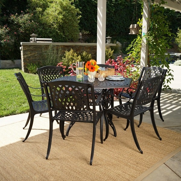 Outdoor Cayman 7 Piece Cast Aluminum Bronze Dining Set By Christopher  Knight Home