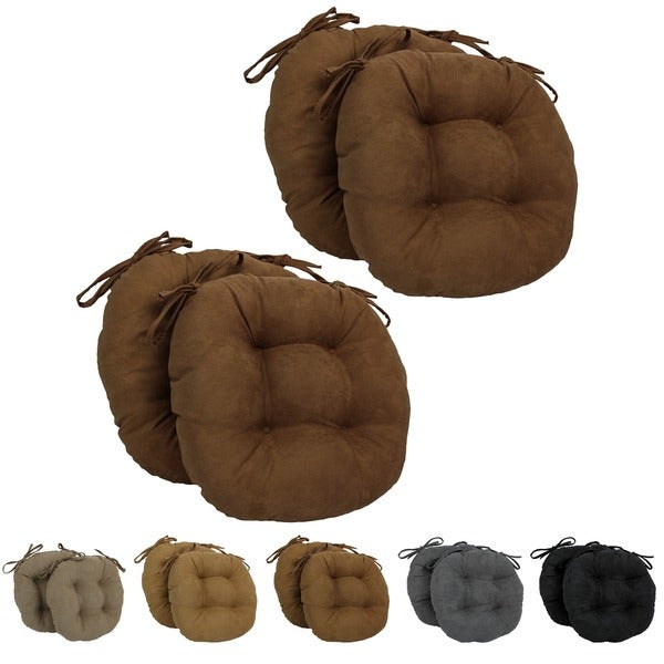 Blazing Needles 16x16 Inch Round Microsuede Chair Cushions