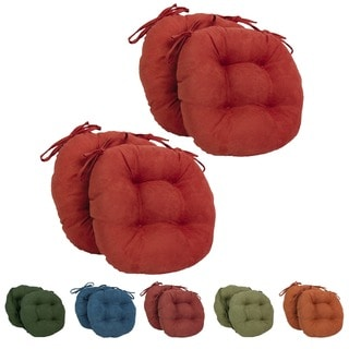 Blazing Needles 16x16-in Round Microsuede Dining Chair Cushions (Set of 4)