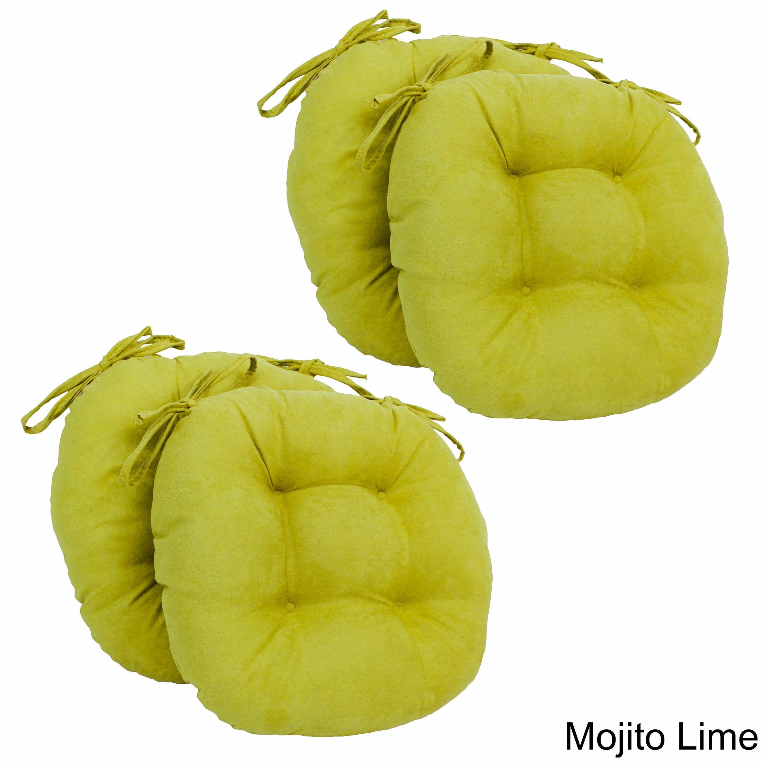 Blazing Needles 16x16-inch Round Tufted Microsuede Dining...