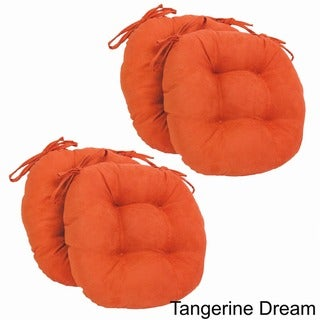 Blazing Needles 16x16-inch Round Tufted Microsuede Dining Chair Cushions (Set of 4)