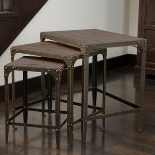 Plano weathered wood tables set of 3 by christopher for Overstock furniture and mattress plano