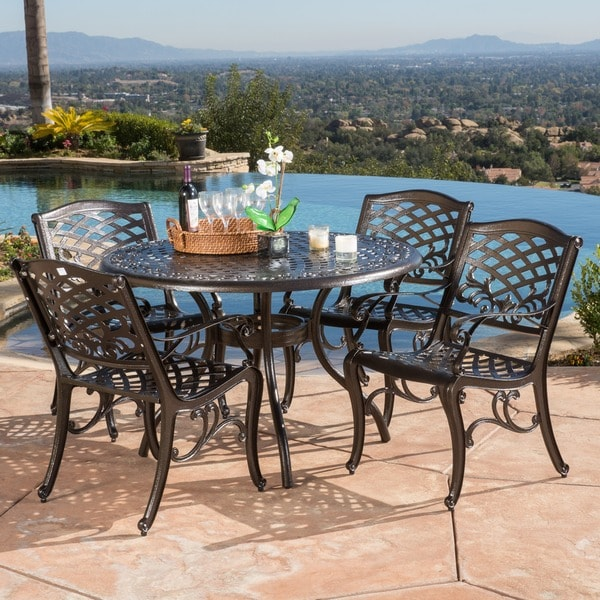 Hallandale sarasota cast aluminum bronze 5 piece outdoor for Home design 6 piece patio set