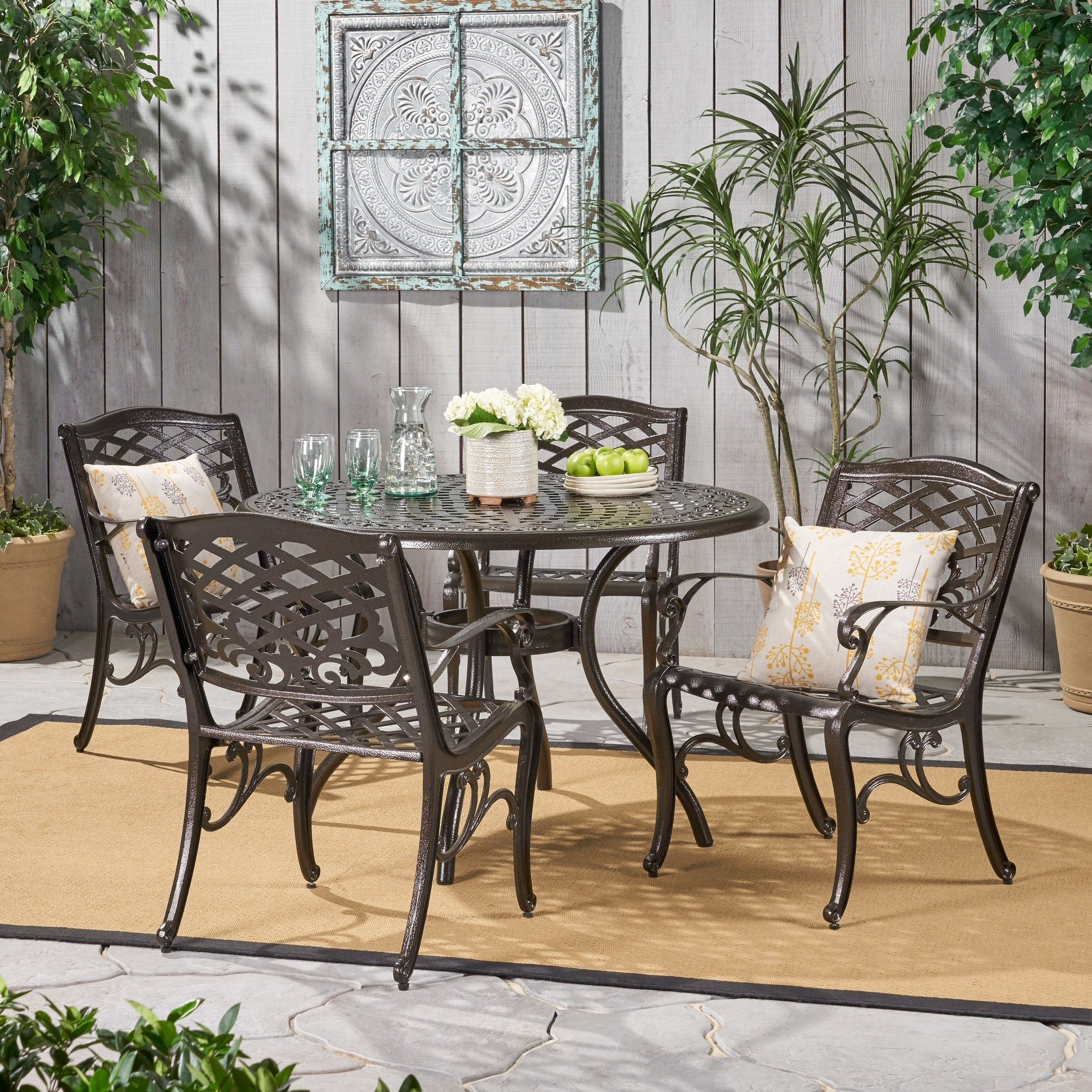 Ordinaire Hallandale Sarasota Cast Aluminum Bronze 5 Piece Outdoor Dining Set By  Christopher Knight Home