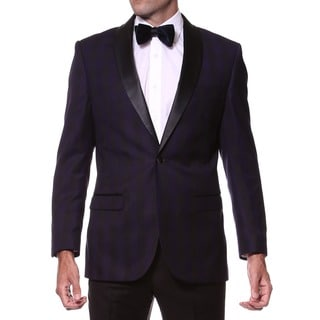 Zonettie Men's Slim Fit Purple/ Black Shawl Collar Tuxedo Blazer (Option: 42l)