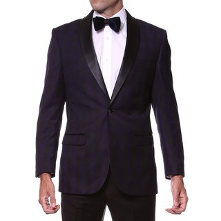 Zonettie Men's Slim Fit Purple/ Black Shawl Collar Tuxedo Blazer