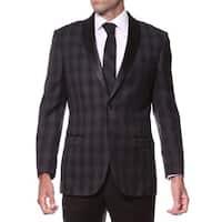 Zonettie Men's Slim Fit Charcoal Plaid Shawl Collar Tuxedo Blazer