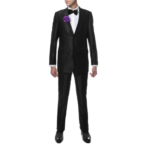Ferrecci Mens Slim Fit Shiny Black Sharkskin Suit - Free Shipping ...