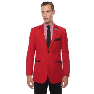 Ferrecci Men's Slim Fit Black and Red 2-button Blazer (More options available)