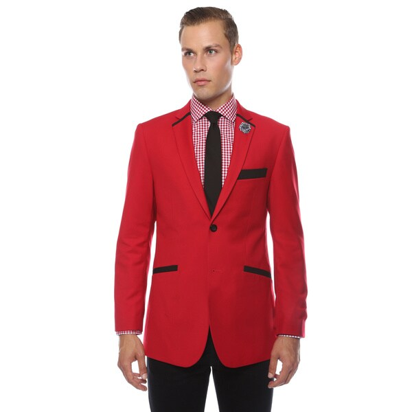 Ferrecci Men's Slim Fit Black and Red 2-button Blazer. Opens flyout.