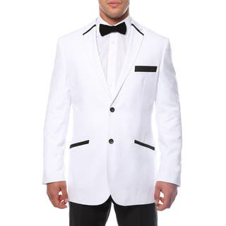 Ferrecci Men's Slim Fit White and Black 2-button Blazer|https://ak1.ostkcdn.com/images/products/8822117/P16055224.jpg?impolicy=medium