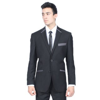 Link to Ferrecci Men's Slim Fit Black and Grey 2-button Blazer Similar Items in Sportcoats & Blazers