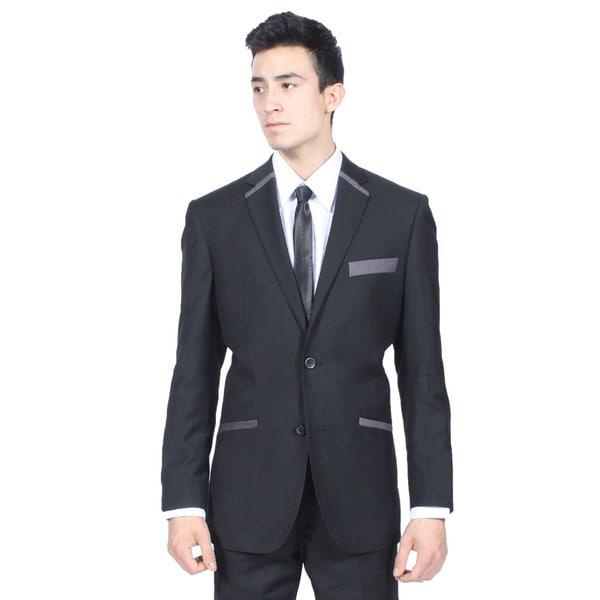 Ferrecci Mens Slim Fit Black and Grey 2-button Blazer