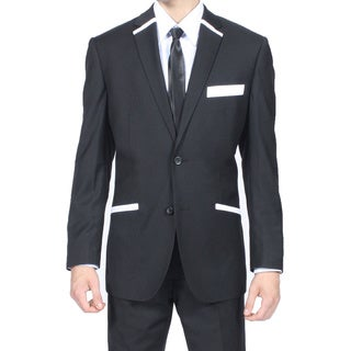 Ferrecci Men's Slim Fit Black and White 2-button Blazer