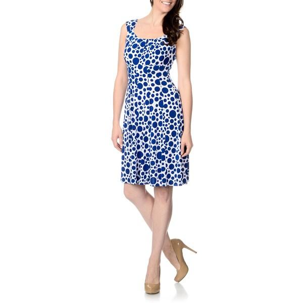 London Times Women's Blue Dots Matte Jersey Dress