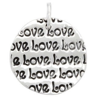 .925 Sterling Silver 'Love' Round Disk Pendant