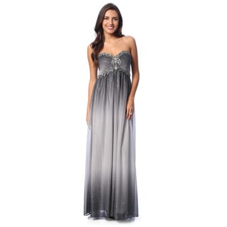 Cachet Women's Gunmetal Sleeveless Glitter Mesh Gown