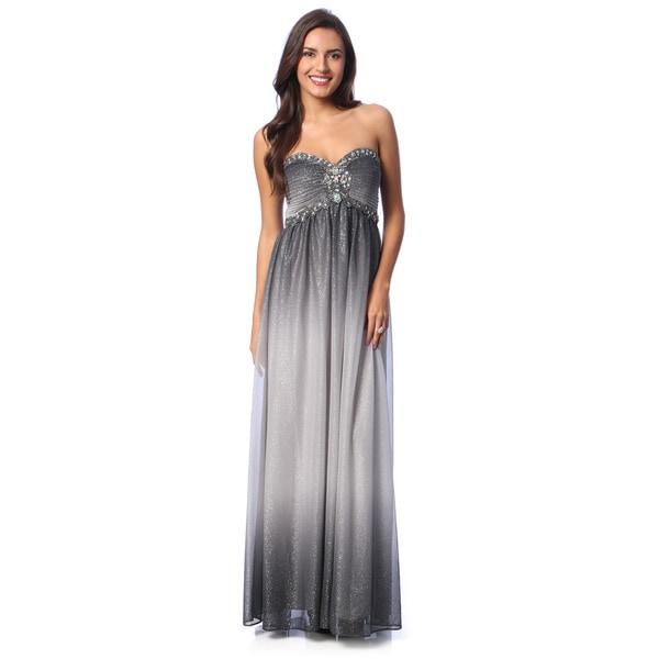 c2b7b1508c4d Shop Cachet Women's Gunmetal Sleeveless Glitter Mesh Gown - Free ...