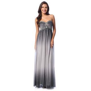 1eb881e698 Cachet Women's Gunmetal Sleeveless Glitter Mesh Gown