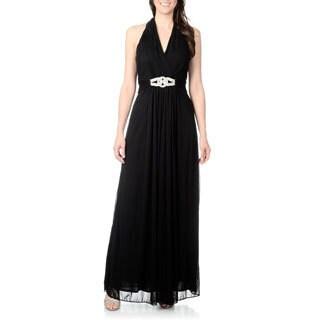 Cachet Women's Black Rhinestone Belt Halter Gown