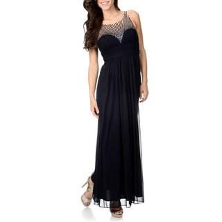 Cachet Women's Navy Sequin Mesh Gown