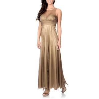 Cachet Women's Bronze Sequin Mesh Gown