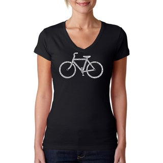 Los Angeles Pop Art Women's 'Save A Planet Bike' Black V-neck T-shirt