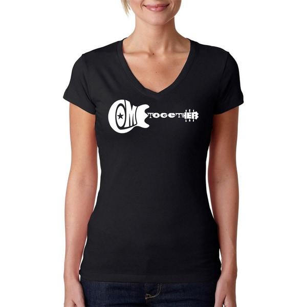 Los Angeles Pop Art Women's 'Come Together Guitar' Black V-neck T-shirt. Opens flyout.