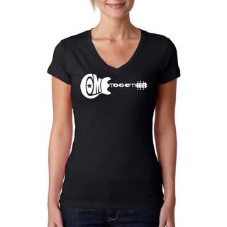 Los Angeles Pop Art Women's 'Come Together Guitar' Black V-neck T-shirt