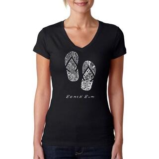 Los Angeles Pop Art Women's 'Beach Bum Flip Flops' Black V-neck T-shirt