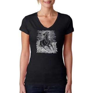 Los Angeles Pop Art Women's 'Horse Breeds' Black V-neck T-Shirt