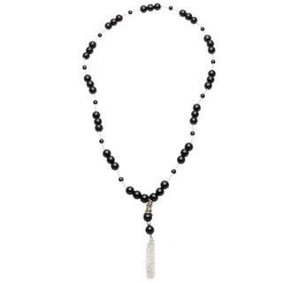 Handmade 'Elizabeth' Obsidian Beaded Tassel Necklace
