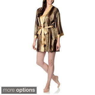 SoulMates Women's Animal Printed Satin Short Robe