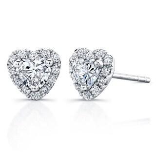 Victoria Kay 14k White Gold 3/5ct TDW Diamond Heart Shape Stud Earrings