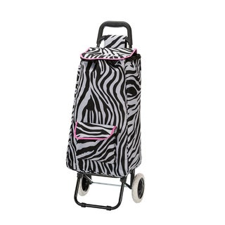Eco-Friendly Pink Zebra Easy Rolling Lightweight Collapsible Shopping Cart Tote