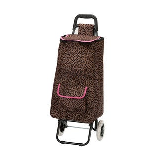 Eco-friendly Pink Leopard Easy Rolling Lightweight Collapsible Shopping Cart Tote