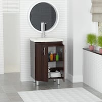 Inval Modern Brown Melamine Bathroom Vanity