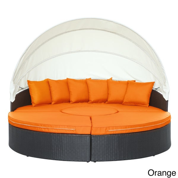 outdoor daybed with canopy uk quest circular wicker rattan patio nz round australia