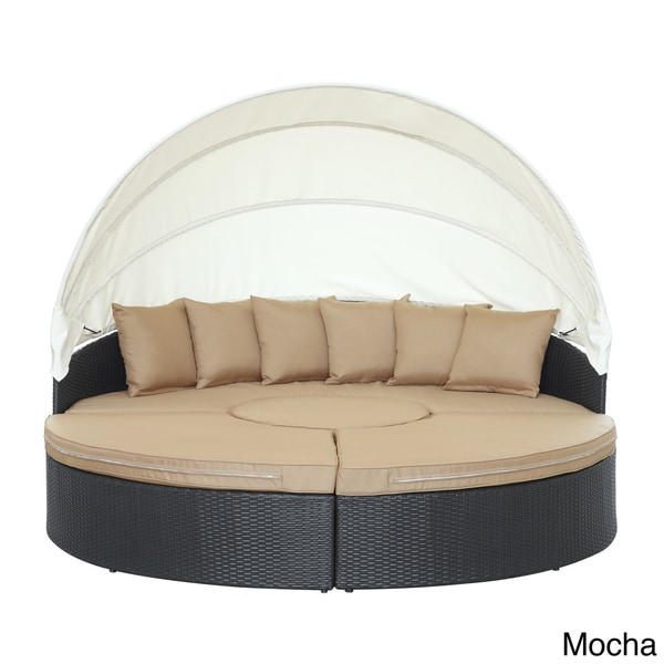 Quest Circular Outdoor Wicker Rattan Patio Daybed With Canopy
