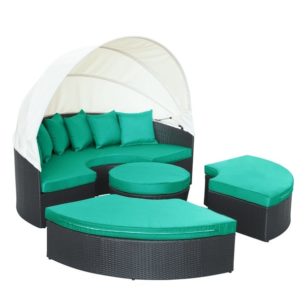 quest circular outdoor wicker rattan patio daybed with canopy free shipping today