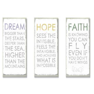Anna Quach 'Dream, Hope, Faith' 3-piece Oversized Inspirational Typography Set