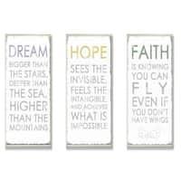 Anna Quach 'Dream, Hope, Faith' 3-piece Oversized Inspirational Typography Set