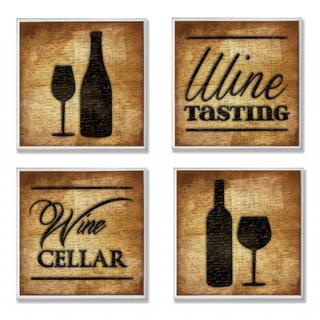 Jace Grey 'Wine Cellar and Tasting' 4-piece Typography and Silouhette Wall Plaque Set