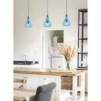 Nina 1-light Hanging Pendant Light - Blue Glass