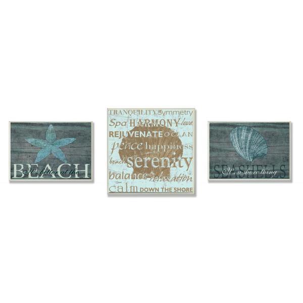 Marilu Windvand and Carole Stevens 'Better Beach Serenity' 3-piece Oversized Wall Plaque Set