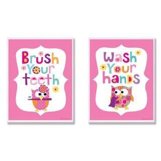 Girl's Bathroom Pink Owl 2-piece Wall Decor Set
