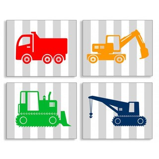 Gray Stripe Construction Vehicle 4-piece Wall Art Set - Red
